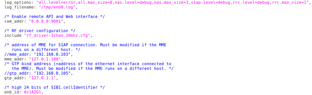 Fig.1 - eNB configuration file