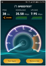 Speed test results with DL carrier aggregation of two CCs of 5MHz bandwidth each
